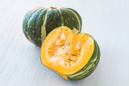 Kabocha, is Japanese pumpkin slice or green pumpkin on white background Stock Photo