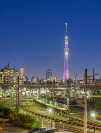tokyo: Tokyo landmark Tokyo skytree and Tokyo railway in evening time Stock Photo