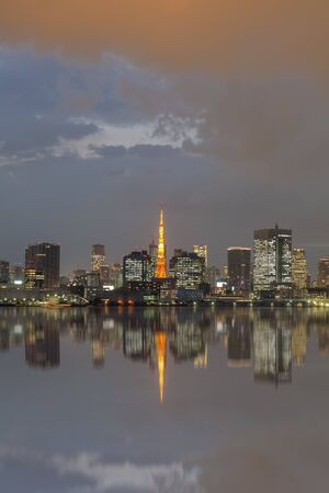 tokyo city: Tokyo city view and Tokyo Tower with reflection