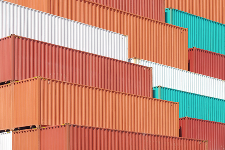 container port: Colorful stack of container shipping at dockyard