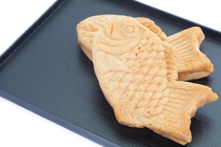 golden bean: Taiyaki, Japanese fish shaped cake made using regular pancake or waffle batter Stock Photo