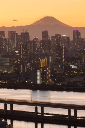 tokyo city: Mount Fuji and Tokyo city view in sunset time