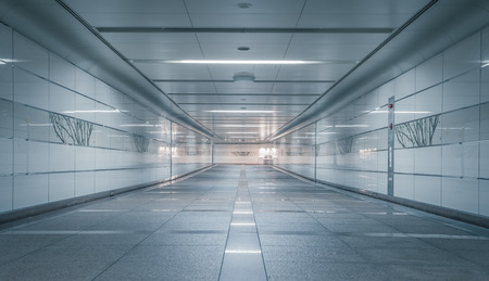 underground passage: Perspective of Empty underground passage at night