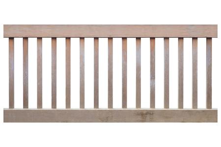Bruine houten hek op een witte achtergrond Stockfoto