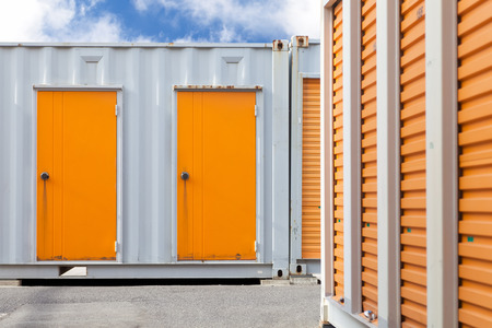 storage unit: Exterior of storage unit or small warehouse for rental