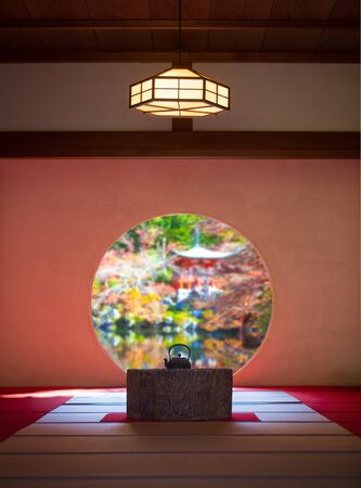 traditonal: Japanese traditonal architecture and garden in beautiful autumn season Stock Photo