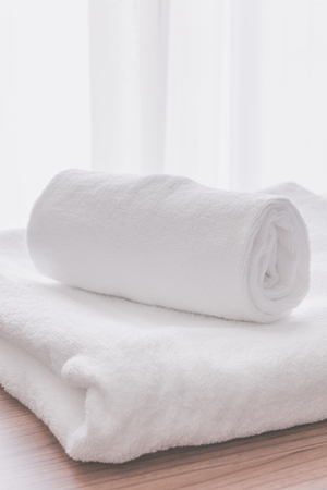 white towel: Clean white towel fold in hotel room