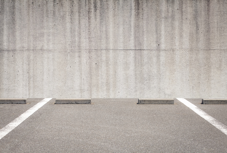 Outdoor empty space car parking and concrete wall
