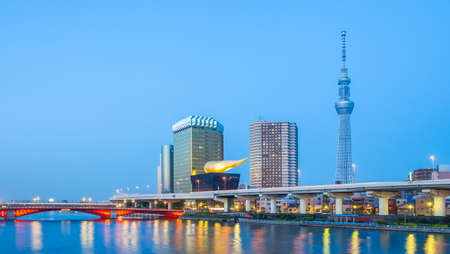 tokyo city: Tokyo city view with Tokyo sky tree and river in evening