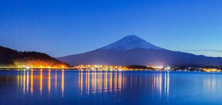 winter evening: Mountain fuji and Lake Kawaguchiko in winter evening Stock Photo