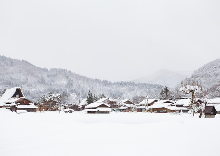 shirakawago: Shirakawago village with snow in winter