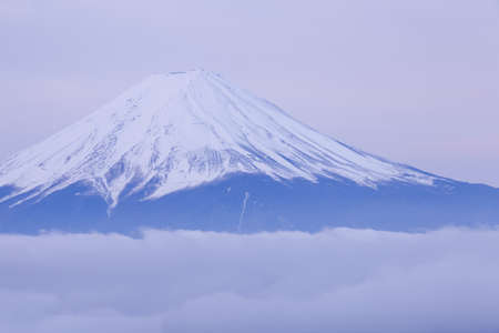 mountaintop: Top of Mountain Fuji with snow in winter season Stock Photo