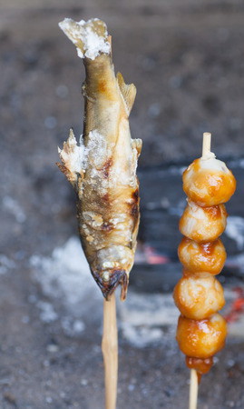 saba: Japanese traditional street food , Saba Shioyaki grilled mackerel with salt