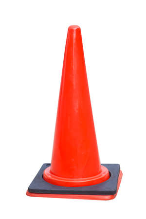 traffic cone: Red traffic cone isolated on white background