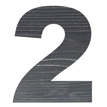 Nombre 2 avec photo en bois fond isolé sur fond blanc