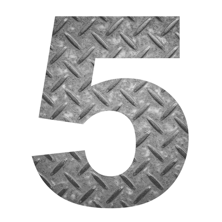 number 5: Number 5 with metal photo background isolated on white background Stock Photo