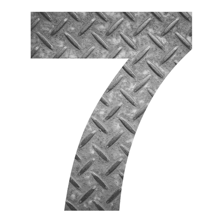 number 7: Number 7 with metal photo background isolated on white background Stock Photo