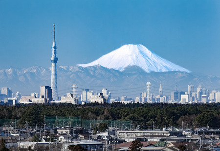Tokyo city view and mountain fuji in winter