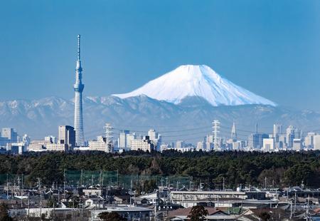 Tokyo uitzicht op de stad en de bergen fuji in de winter