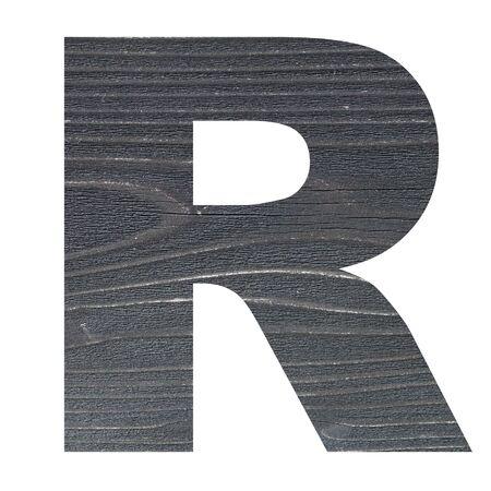 cartas antiguas: las letras del alfabeto en inglés con textura de madera de la foto aislado en el fondo blanco Foto de archivo