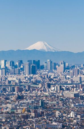 tokyo city: Tokyo city view and Mount Fuji in winter season
