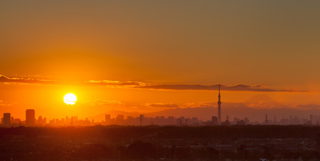 tokyo city: Sunset landscape and Tokyo city view