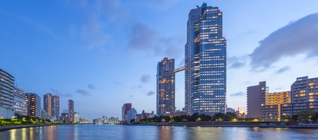 Panorama view of waterfront Tokyo city at twilight Banco de Imagens