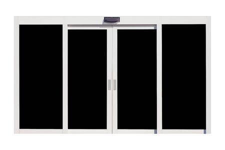 metal door: White metal door isolated on white background Stock Photo