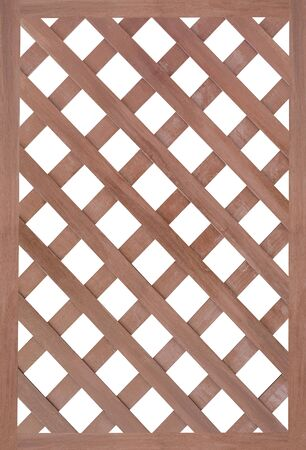 garden frame: Brown wood fence isolated on white background Stock Photo