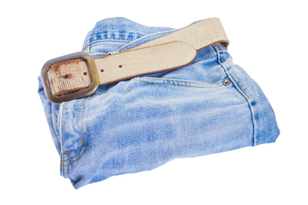 leather belt: Leather belt and blue denim jean isolated on white background