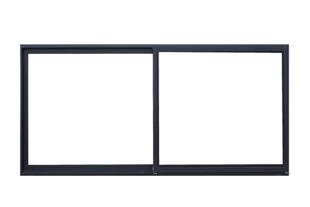 白い背景の分離された黒い窓枠の金属