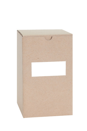 shipped: Brown paper box with blank label isolated on white background