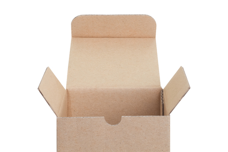 Brown paper box opened isolated on white background Stock Photo