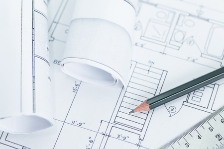 architect drawing: Architect rolls and plans.architectural plan,technical project drawing
