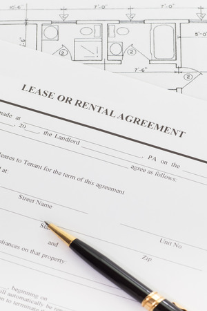 rental: Close - up Lease or rental agreement form