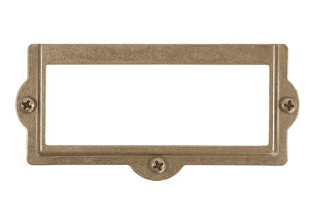 placa bacteriana: placa de latón antiguo aislado en el fondo blanco Foto de archivo