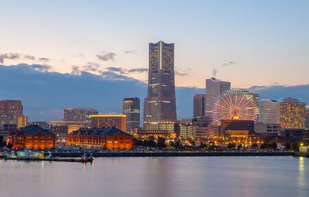 city panorama: Night view of Yokohama bayside and landmark Tower