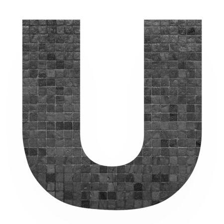 old english letters: English alphabet letter U with black mosaic background photo isolated on white background Stock Photo