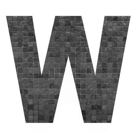 old english letters: English alphabet letter W with black mosaic background photo isolated on white background Stock Photo