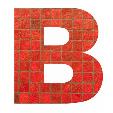old english letters: English alphabet letter B with black red mosaic background photo isolated on white background