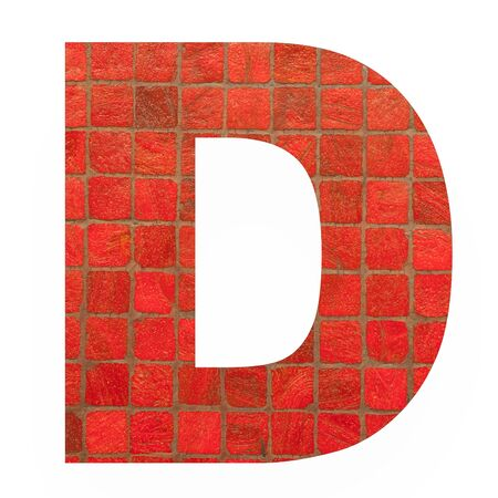 old english letters: English alphabet letter D with black red mosaic background photo isolated on white background