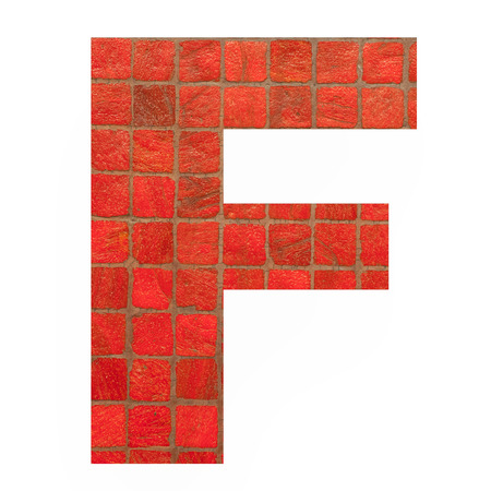 old english letters: English alphabet letter F with black red mosaic background photo isolated on white background Stock Photo