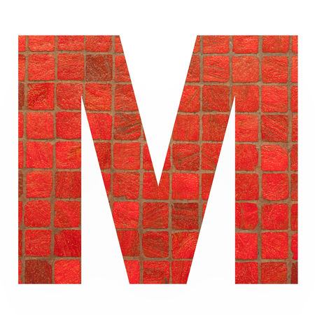 old english letters: English alphabet letter M with black red mosaic background photo isolated on white background