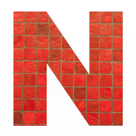 old english letters: English alphabet letter N with black red mosaic background photo isolated on white background Stock Photo