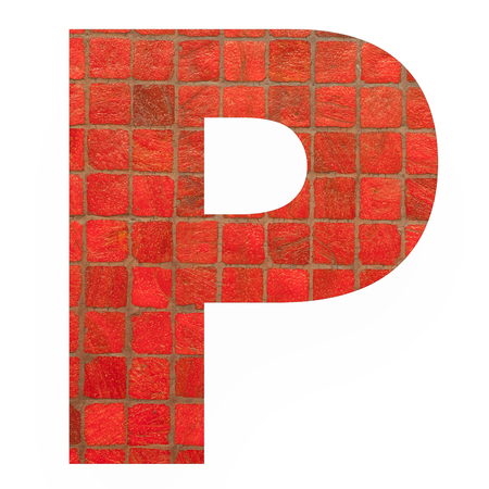 old english letters: English alphabet letter P with black red mosaic background photo isolated on white background