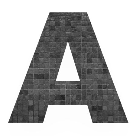 old english letters: English alphabet letter A with black mosaic background photo isolated on white background