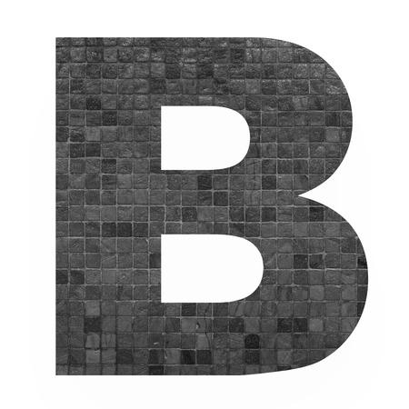 old english letters: English alphabet letter B with black mosaic background photo isolated on white background