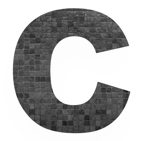 old english letters: English alphabet letter C with black mosaic background photo isolated on white background