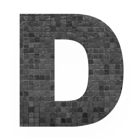old english letters: English alphabet letter D with black mosaic background photo isolated on white background