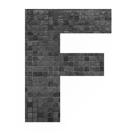 old english letters: English alphabet letter F with black mosaic background photo isolated on white background